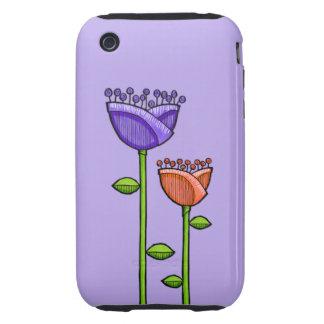Fun Doodle Flowers purple orange iPhone 3G 3GS iPhone 3 Tough Covers