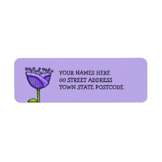 Fun Doodle Flowers purple orange Label