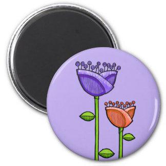 Fun Doodle Flowers purple orange Magnet