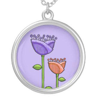 Fun Doodle Flowers purple orange Necklace