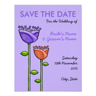 Fun Doodle Flowers purple orange Save the Date Invitation