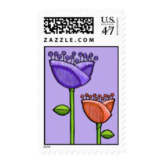 Fun Doodle Flowers purple orange Stamp