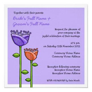 Fun Doodle Flowers purple orange Wedding Custom Announcement