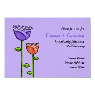 Fun Doodle Flowers purple orange Wedding Reception Custom Announcements