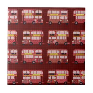 Fun Double Decker Bus Pattern Tile