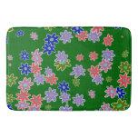 fun drawn flowers colorful design bath mat
