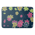 fun drawn flowers colorful design bathroom mat
