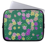 fun drawn flowers colorful design computer sleeve