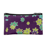 fun drawn flowers colorful design cosmetic bag
