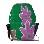 fun drawn flowers colorful design courier bag