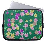 fun drawn flowers colorful design laptop sleeve