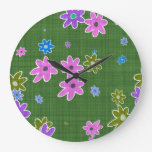 fun drawn flowers colorful design large clock