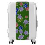fun drawn flowers colorful design luggage