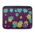 fun drawn flowers colorful design MacBook air sleeve