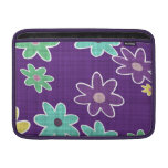 fun drawn flowers colorful design MacBook sleeve