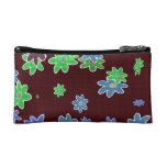 fun drawn flowers colorful design makeup bag
