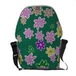 fun drawn flowers colorful design messenger bag