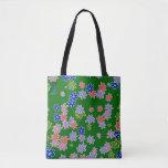 fun drawn flowers colorful design tote bag