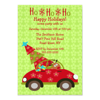 Fun Driving Reindeer with Tree Holiday Party Personalized Invites