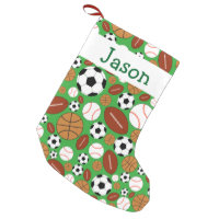 Fun Dynamic Sports Theme Personalized Small Christmas Stocking