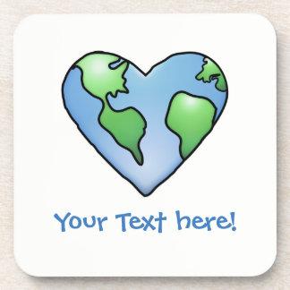 Fun Earth Heart Shaded Cartoon Style Icon Beverage Coaster