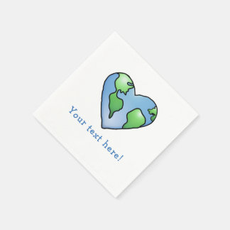 Fun Earth Heart Shaded Cartoon Style Icon Napkin