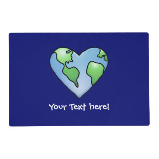 Fun Earth Heart Shaded Cartoon Style Icon Placemat