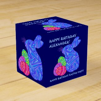 Fun Easter Themed Birthday Party Blue Bunny Box Wedding Favor Boxes