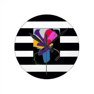 Fun Elegant Modern Chic Colorful Wall Clock