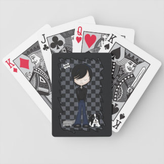 Fun Emo Goth Boy Cute Cartoon Teenager Bicycle Playing Cards