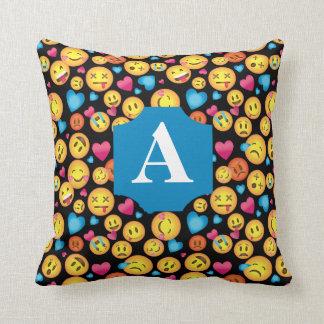 Fun Emoji Print Pillow with Monogram