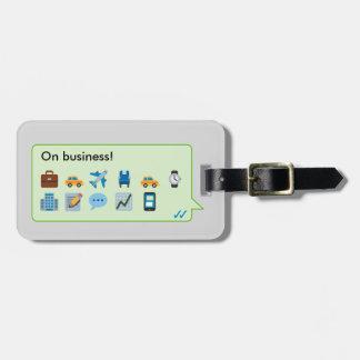 Fun emojis / emoticons business trip phone message bag tag