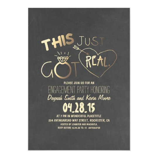 Delightful Fun Engagement Party Invitation This Just Got Real  Engagement Party Invites Templates