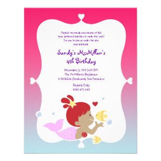 Fun Ethnic Mermaid Birthday Party Invitation