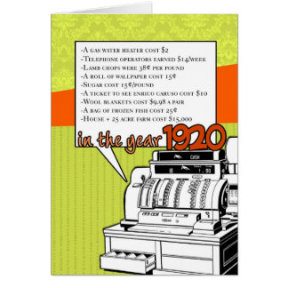 Fun Facts Birthday – Cost of Living in 1920 Card
