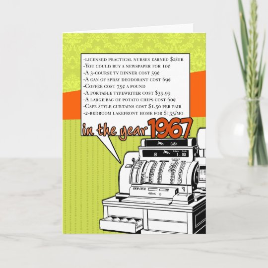 Fun Facts Birthday Cost Of Living In 1967 Card Zazzle
