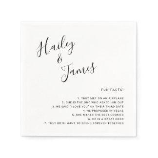 Fun Facts Black White Handwritten Names Wedding Napkins