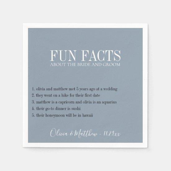 Fun Facts Dusty Blue Napkin