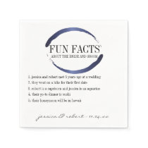 Fun Facts Modern Blue Brush Strokes Personalized Paper Napkin