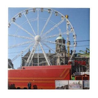 Fun fair in Amsterdam Small Square Tile