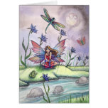 Fun Fairy Dragonfly and Frog by Stream Card