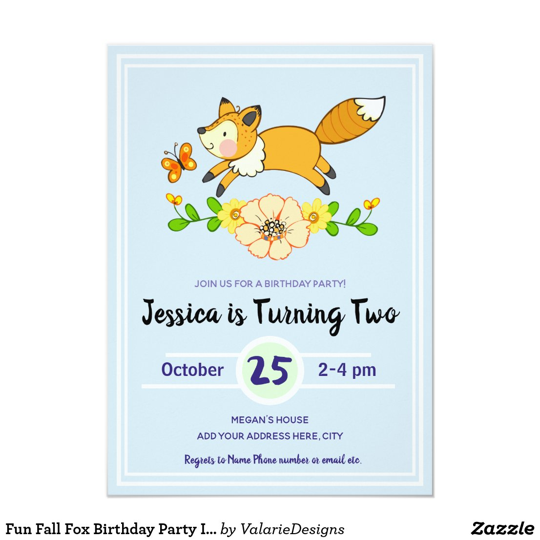 Fun Fall Fox Birthday Party Invitations