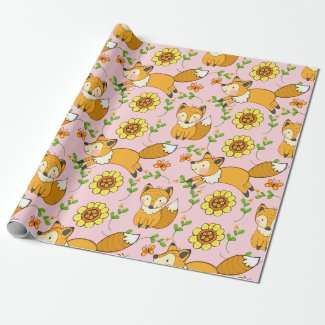 Fun Fall Fox Gift Wrapping Paper Pink
