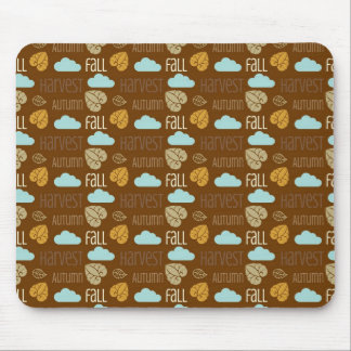 Fun Fall Harvest with Leafs and Cloud Pattern Mouse Pad