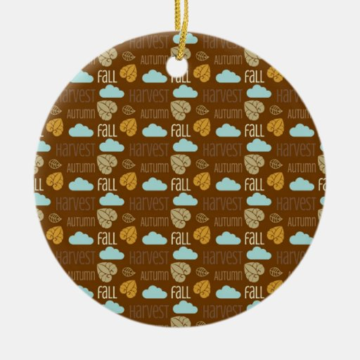 Fun Fall Harvest with Leafs and Cloud Pattern Christmas Tree Ornament