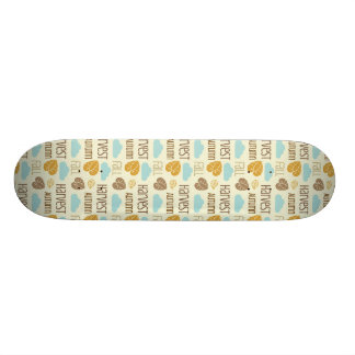 Fun Fall Harvest with Leafs and Cloud Pattern Skate Board Deck