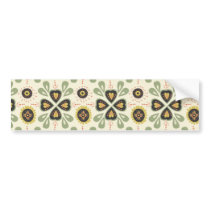 Fun Fall Tan and Green Floral Pattern Bumper Sticker