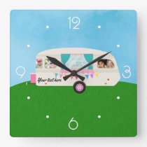 Fun Family Caravan personalized add photos Square Wall Clock