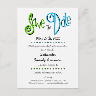 Fun Family Reunion or Party Save the Date Announcement Postcard