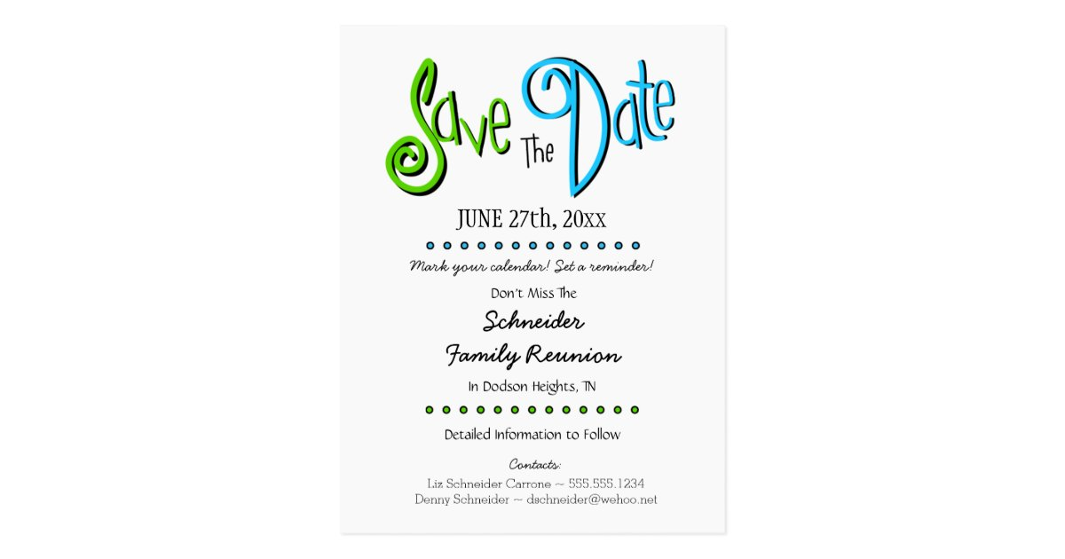 Fun Family Reunion or Party Save the Date Postcard   Zazzle.com